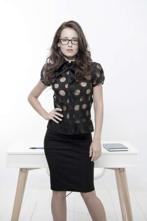 My future is in my hands. Business professionals. Business school coach. Dress code. Pretty school teacher. Back to school. Girl with red lips in glasses 免版税图像