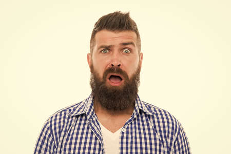 Beyond belief. Wondering concept. Handsome surprised man wonder. Surprised guy bristle and hairstyle. Male beauty. Barber hairdresser. Bearded surprised man. Emotional expression. Astonished face
