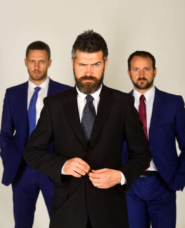 Businessmen wear smart suits and ties. Leaders present partnership
