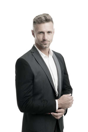 Successful businessman. Well groomed business man white background. Man formal style outfit. Business dress code. Business coaching and consulting services. Personal growth and self development