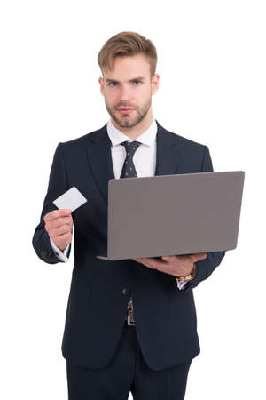 Businessman in formal style hold laptop computer and identity card for copy space, identification