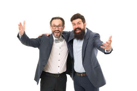 Business team. Business people concept. Men bearded wear formal suits. Well groomed business men. Successful partnership. Achieve success. Men entrepreneurs white background. Inspired to work hard