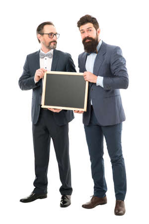 welcome on board. bearded men hold advertisement blackboard. partners celebrate start up business isolated on white. businessmen in formal suit, copy space. announcement. Going over business details