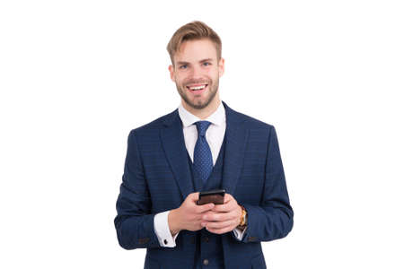 Being communicative. Happy employee send sms isolated on white. Business communication. Using new technology. Mobile communication. Modern life. 3G. 4G