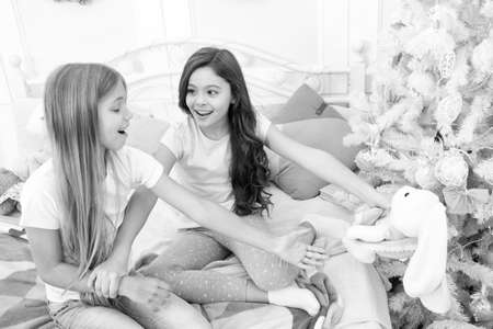 Toys shop. Cute soft toys. Generosity and greediness. Teach sister sharing toys. Greedy sisters. Kids play toys in bed. Little girls spend time together. Friendship sisterhood personal relations Stock fotó