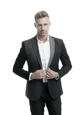 Confident and classy every day. Elegant businessman isolated on white. Businessman in tuxedo. Handsome businessman in formalwear. Professional businessman. Man in business style