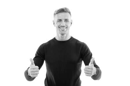 Good luck. Handsome man celebrate holidays white background. Guy wear black sweater. Best wishes. Mature man smiling face bristle. Success thumbs up. Success achievement. Personal success