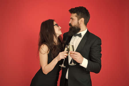 Happy marriage anniversary. Family celebrate Valentines day. Romantic relationship. Love concept. Celebrating their love. Occasion to celebrate. Couple in love drink sparkling wine. Spouse hold glass