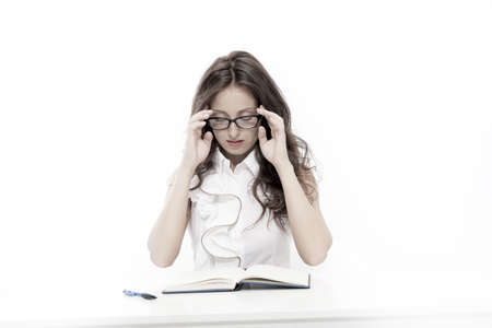 Business concept. back to school. sexy woman read book in glasses. eyeglasses for better sight. sexy secretary work in office. office fashion dress code. Beautiful brunette businesswoman wear glasses