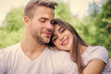 Being in love. happy valentines day. summer vibes. family weekend. romantic date. couple relax outdoor. Tender feeling. couple in love. Skin and hair care. girl with guy in park. Beauty and fashion
