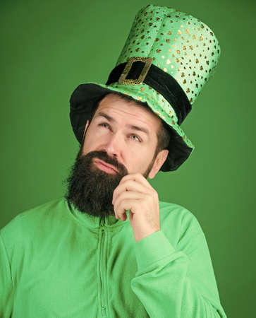 Man bearded hipster wear hat. Saint patricks day holiday. Green part of celebration. Happy patricks day. Global celebration. St patricks day holiday known for parades shamrocks and all things Irish Zdjęcie Seryjne