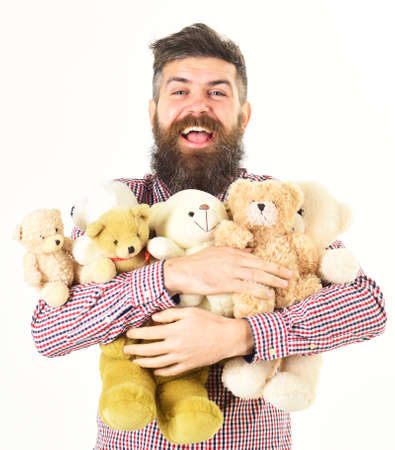 Man or hipster got many teddy bears as gifts.