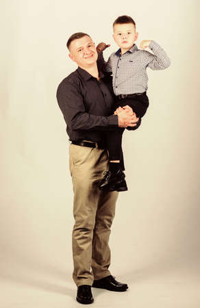 Dad and adorable child. Parenthood concept. Fathers day. Father example of noble human. Family bonds. Family support. Real men. Trustful relations father and son. Father little son. Best friends 写真素材