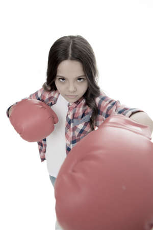 Feel powerful. Girls power concept. Feminist upbringing and female rights. Fight for her rights. Female rights and liberties. Girl boxing gloves ready to fight. Kid strong and independent girl