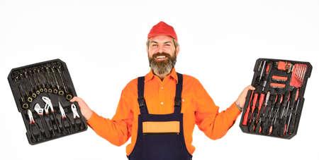 你所需要的。螺丝刀集。男子携带工具箱白色背景。工人,修理工,杂工,搬运工具箱。杂工的概念。电工工具。德赢体育专业的设备。手巧的人的梦想