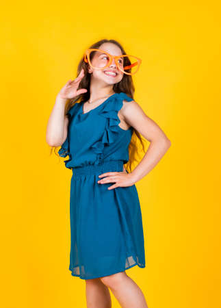 formal style beauty. kid beauty and fashion. hairdresser beauty salon. childhood happiness. little fashion model. small girl in dress. child with happy smile. looking so stylish. perfect elegant look