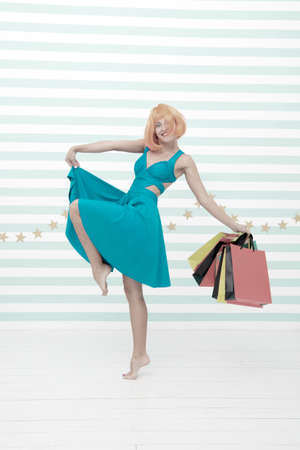 Fashion. Pleasant shopping. Black Friday sales. Last preparations. big sale in mall. Crazy girl with shop bags. happy woman go shopping. Happy shopping online. Incredible time while shopping