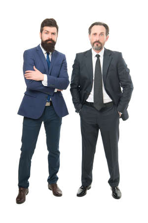 Collaboration and teamwork. Bearded businessmen in formal clothes. Boss and employee. Education for business. Successful entrepreneurship. Respect and reputation. Business team. Business meeting Stock fotó