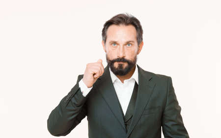 Bearded man. Male formal fashion. confident businessman in suit. Businessman. Business fashion and dress code. Brutal man with hipster beard. Mature. Check out my profit this month