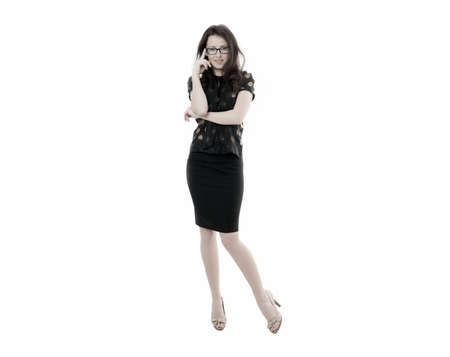 Female business concept.  Confident business manager. Woman eyeglasses attractive teacher or lecturer. Business lady smart office manager. Girl wear formal clothes white background