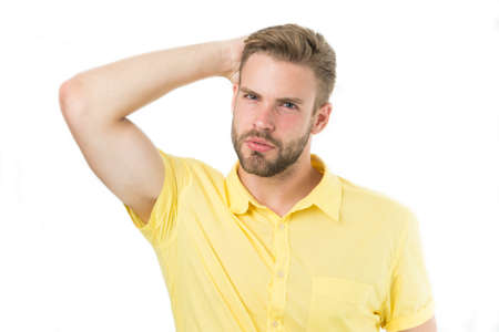 Life without dandruff. Healthy hair. Guy attractive enjoy hairstyle. Man bearded strict face enjoy freshness white background. Man beard unshaven handsome and well groomed touching clean fresh hair