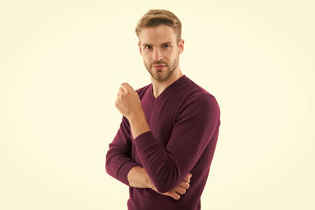 male beauty standards. autumn fashion for men. confident businessman has stylish haircut. charismatic guy. handsome unshaven man isolated on white. man in purple jumper. Man maintaining fashion blog