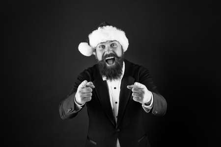 I need you. Happy salesman pointing fingers. Bearded man pointing dark background. Pointing gesture. Target and targeting. Pointing at you. Advertising and sale concept