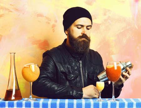 hipster and glasses of alcoholic beverage, cocktails, shot or shaker
