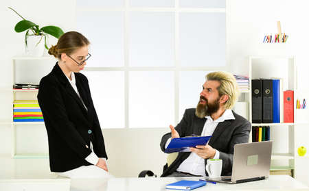 Business couple working. Couple in office. Distribute obligations and organize work team. Man and woman. Build career. Office secretary. Boss manager director. Business report. Successful business