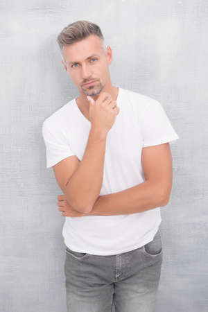 Thinking concept. Mature man thinking. Overcome problems. Psychological crisis. Mature guy wear white shirt looks stylish. Thinking find solution. Decide. Make decision. Something on his mind