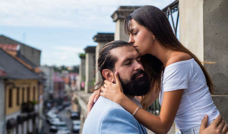 couple in love embrace outdoor on love date, romance