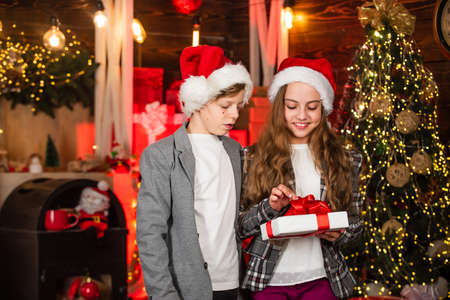 exchange gifts concept. celebrating christmas together. happy family exchanging christmas gifts. share positive emotions. Friends giving gifts to each other. Christmas holidays concept
