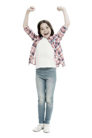 All the power of being a girl. Happy girl isolated on white. Little girl celebrate victory. Fashion look of baby girl. Beauty and style