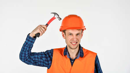 Man repair master knoking own head claw hammer, blockhead concept