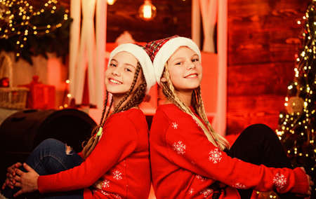 day dreamers. santa children. Shopping Center. kid store. merry christmas. Are you ready. happy small girls has xmas mood. new year party celebration. sisters spend family holiday together