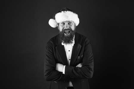 Christmas comes but once a year. Bearded man enjoy christmas party. Happy businessman celebrate xmas and new year. Holiday celebration. Merry christmas. Happy new year