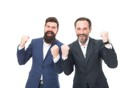 Celebrating success. Bearded men make winner gesture. Happy businessmen celebrate success. Being excited about success. Successful marketing. Success in business Imagens