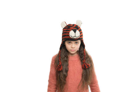 little angry girl in winter look. Fashion concept. cute beauty isolated on white. warm in any weather. let it snow. ski resort. get ready for winter holiday. homemade knit. Never Hang Your Knitwear.