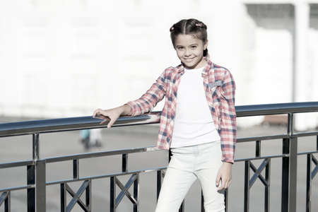 Girl cute kid urban background. Activities for teenagers. Vacation and leisure. Weekend events for kids. Leisure fun ideas. Event overview. What do on holidays. Leisure options. Free time and leisure