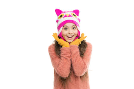 little girl long hair isolated on white. warm and cosy. all you need is gloves. perfect look for cold weather. last trends for this winter. happy kid wear knitwear. i love knitting. in christmas mood