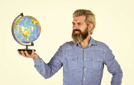 International business concept. Businessman holds Earth. whole world in one touch. Internet And Modern Technology. teacher at school geography lesson. man planning vacation. save energy