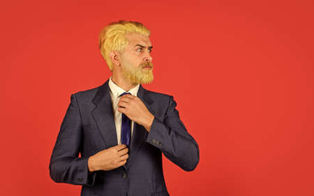 boss in stylish clothes grooming. businessman in formal wear. business man in suit. Confident bearded man. leader CEO portrait. hipster dyed beard. professional office manager. feel stylish today