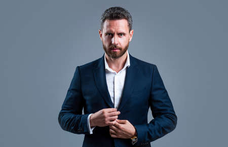 boss man in jacket with groomed beard hair, fashion Stock fotó