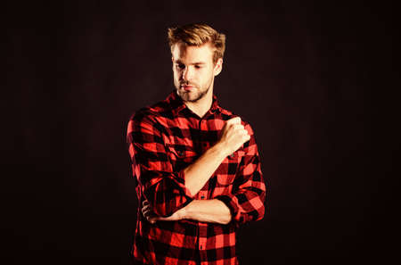 fashion model. man black background. handsome man with beard. after barbershop. charisma. western cowboy portrait. retro male fashion. Vintage style man. man checkered shirt. western