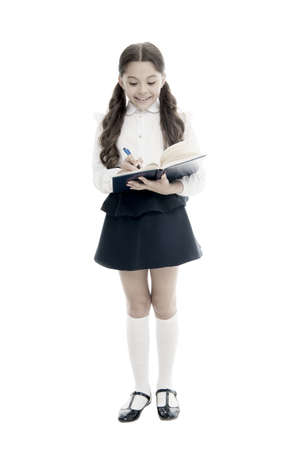 Adorable child schoolgirl. Formal education concept. School education basics. Coordinating process. Focused on education. KId girl student likes to study. Study in secondary school. Private lesson