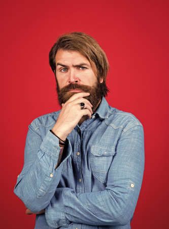 Young and brutal. brutal hipster with moustache. fashion model wear casual clothes. male beauty standard. looking so trendy. Confident and handsome brutal man. bearded man Standard-Bild