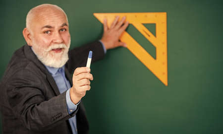 Drawing tips. Become lifelong learners. Man bearded tutor chalkboard background. Mature lecturer share knowledge. Stem knowledge. Knowledge concept. Investigation and research. How succeed in math