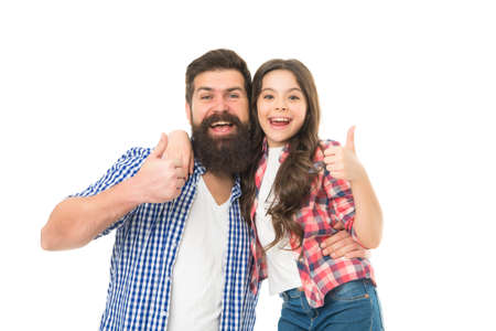 Approval and support. Happy father and small child showing thumbs ups approval sign. Father and little daughter smiling with approval gesture. Bearded man and adorable girl giving their approval