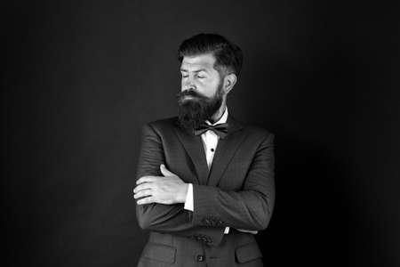 Well groomed man beard in suit. Male fashion and aesthetic. Classic style aesthetic. Businessman formal outfit. Masculine aesthetic. Barber hairdresser. Make male grooming simpler and more enjoyable.