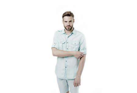 Bearded man with serious look isolated on white background. Fashion man in casual wear. Confident in style. Confidence and charisma. Simply handsome